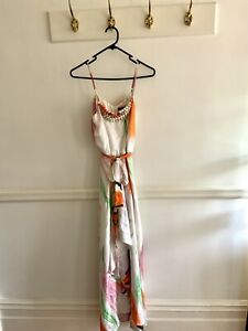 Honey & Beau Silk Multicolour Maxi Dress, Size 8