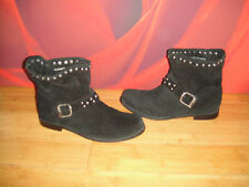*18* SUPERB F&F BLACK LEATHER SUEDE SLOUCH STUD ANKLE BOOTS  UK 8 EU 41
