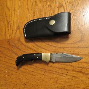 Damascus folding blade knife w/ black bone handle & leather sheath hand made