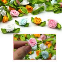 100pcs Small Mini Satin Ribbon Flowers Rose Wedding Decor Sewing Appliques PDK