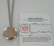 "SOS NECKLACE 30"" MEDICAL ALERT/EMERGENCY/STAINLESS STEEL LADIES/MENS/TALISMAN"