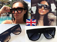 b8ff2e8204157 Designer Inspired Shadow Shield Flat Top Black Sunglasses Celeb Kim K  Holiday UK