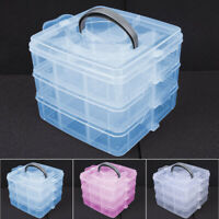 3-Layers Plastic Clear Jewelry Bead Organizer Box Storage Container-Case Crafts
