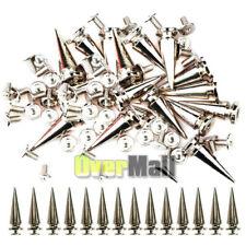 50/100PCS Trendy 26MM Silver Spots Cone Screw Metal Studs Rivet Bullet Spikes US