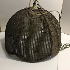 "Vintage Mid Century Rattan Wicker Swag Hanging Light Lamp Dark Brown ""B"""