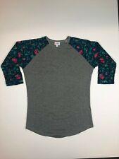 LuLaRoe Randy Gray Green Floral Pattern Tee SUPER SOFT XS L