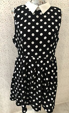 Apricot Black White Collar Spotty Sleeveless Dress Size 14