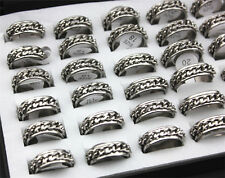 Wholesale Lots 10pcs Silver Tone Chain Stainless Steel Men Jewelry Ring Free