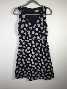 Great Plains London womens navy blue patterned fit and flare dress size S cotton
