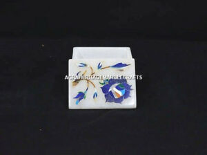 "2""x2"" Decorative Marble Earring Storage Box Lapis Marquetry Inlaid Decor H5487"