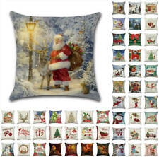 "18"" US Christmas Santa Retro Cushion Covers Xmas Pillow Cases Sofa Home Decor"