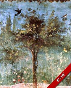 ANCIENT ROMAN FRESCO PAINTING OF GARDEN TREE & BIRDS ROME ART REAL CANVAS PRINT