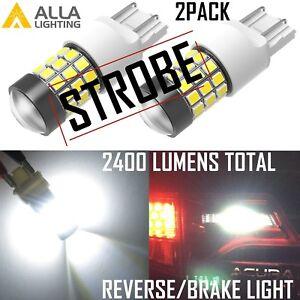 Alla Lighting 7443 LED Strobe Flash Back Up Reverse Light,Brake Bulb Lamp,White
