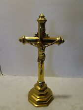 """BRASS ART DECO PRIESTS ALTAR TABLE CHURCH CRUCIFIX 16.5"""" H Antique gold Plated"""