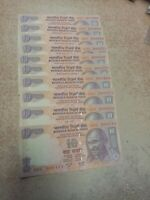 RARE SET 10 Rupee INDIA Banknote SOLID SERIAL NUMBER 000111 to 001000 UNC x10pcs