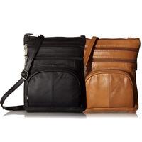 Roma Leathers Genuine Multi-Pocket Crossbody Purse Bag BLACK/BROWN Leather