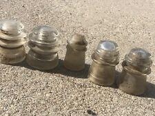 Lot Of 5 Insulators Telephone Pole Hemingray 2 Of 56, 2 Of 17, 1-9. Clear Glass