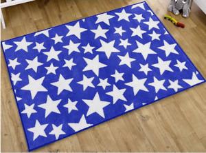 Kids Nursery Rug in Blue With White Stars 100 x 150 cm Blue Non Slip Play Mat