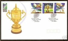 AUSTRALIA 2003 RUGBY WORLD CUP Set 3v OFFICIAL FDC