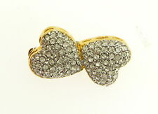 Crystal Pave Double Heart Pin Sterling Silver 18kt Gold Vermeil