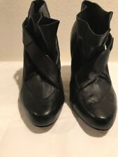Diesel  Black Leather High Heel Ankle Boots Size 10 Eu 40