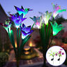 2Pcs Solar Powered Light 8 Lily Flower Multi-Color Changing LED Decor Lights USA