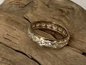 Vintage 9ct Gold C/Z Full Eternity Dress Ring Ladies Jewellery Size P - 3.1gr