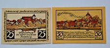 SCHONBERG NOTGELD 25, 50 PFENNIG 1923 EMERGENCY MONEY GERMANY BANKNOTE(S) (6332)