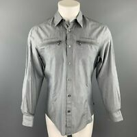 JOHN VARVATOS * U.S.A. Size S Gray Pinstripe Cotton Button Up Long Sleeve Shirt