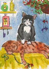 1.5x2 DOLLHOUSE MINIATURE PRINT OF PAINTING RYTA 1:12 SCALE BLACK CAT HUMOR ART