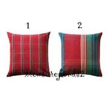"""IKEA ANNBRITT Cushion Cover Red Green Plaid Check 20 x 20"""" Pillow cover"""