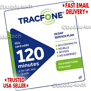 TracFone 120-minute Airtime Card Refill 90 Days Service Smartphones Android PIN