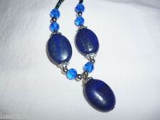 Lapis Lazuli  blue stone and bead necklace