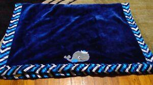 BANANAFISH Studio Whale Plush Fleece Chevron Satin Crib Baby Blanket HTF/RARE