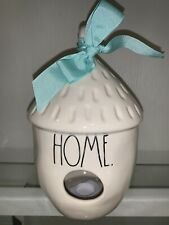"""Rae Dunn New """"Home� Acorn Shaped Birdhouse Teal Bow New Collection 2019"""