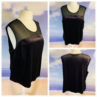 Ladies Black Top Size 28 CLASSICS Velvet Sheer Top Sleeveless Cruise Party Snart