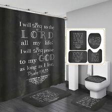 Psalm 104:33 Black Shower Curtain Bath Mat Toilet Cover Rug Home Bathroom Decor