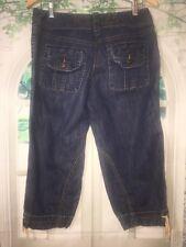 Ann Taylor Loft Womens Capri Jeans Sz 4 Utility Cuffed Elastic Hem Pockets