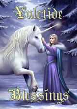 Pure Magic Unicorn Greetings Card by Anne Stokes yuletide blessings