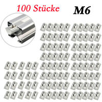 100× Metall Profil Nutensteine Kugel Nut 8 Schrauben Gewinde M6  Hammermutter DE