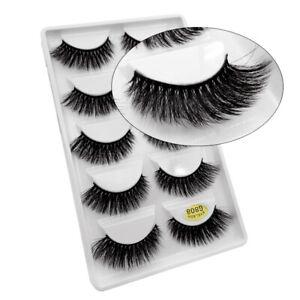 5 Pair 3D Mink Eyelashes Wispy Cross Long Thick Soft Eye Lashes