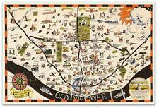 "Large MAP of Vintage SAINT LOUIS Missouri Art Print Poster circa 1950 24""x36"""