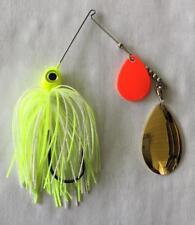 1/4oz Spinner Bait  White/Chart - orange Colorado/indiana 3-pack FREE SHIPPING!!