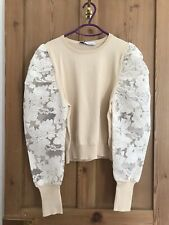 Zara Cream Knit Top With Lace Puff Sleeves. Size L. Brand New With Tags