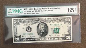 1969-c STAR , $20 federal reserve note , Dallas   , uncirculated , PMG 65 EPQ