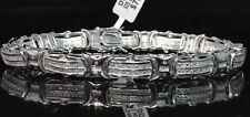 "Men's Pave 8 MM White Gold Finish Round Cut Genuine Diamond Bracelet .40Ct 8.00"""
