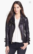 NWT DKNY Lambskin Leather Moto Zip Jacket Black Asymmetrical Buckled Gold Cuff