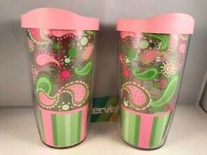 Pink Green Paisley Tervis Tumbler Cup 16 oz with Lid Set of 2