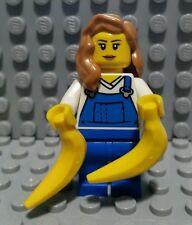 LEGO GARDENER MINIFIGURE City Female Girl Reddish Blonde Hair/Overall/Bananas