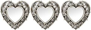 Set of 3 - Plastic Frame - Wall Hanging - Champange Heart Mirrors